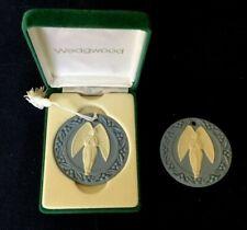 Two Wedgwood Blue & White Jasper Angel Christmas Ornaments Orig Velvet Box, 1989