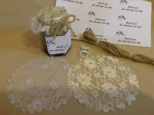 LACE lid tops FABRIC wedding  inc bands ,labels & twine x 50 for 1oz & 1.5oz jar
