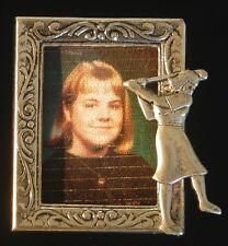 Silver Plate & Oxidized Matte Silver Golfing Photo Frame Pin Female Golfer