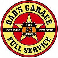 Dad's Garage round metal sign (pst 14)