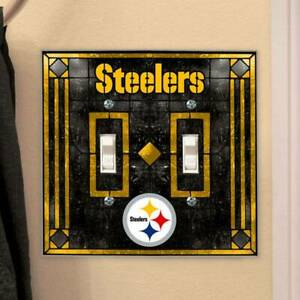 Pittsburgh Steelers Art-Glass Double Switch Plate Cover