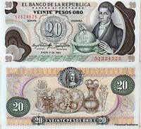COLOMBIE billet NEUF 20 PESOS DE OROS archeologie Pick409d JOSE DE CALDAS 1982