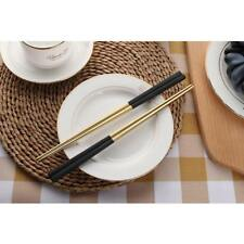 1 Pair Stainless Steel Chopsticks EcoFriendly Square Tableware Black Gold