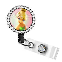 Retractable Badge Reel Name Tag ID Pull Clip Holder Lanyard Tinkerbell Gift