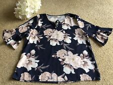 MIRACLE Ladies Floral 3/4 Sleeve Blouse Size 12-14 BRAND NEW