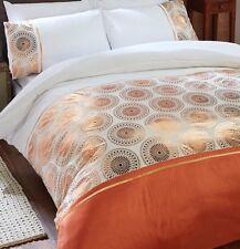 LUXURY Rose Gold Foil Circles Orange Satin DOUBLE Duvet Set NEW Moroccan Ethic