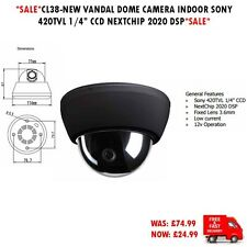 "CL38-NEW VANDAL DOME CAMERA INDOOR SONY 420TVL 1/4"" CCD NEXTCHIP 2020 DSP"