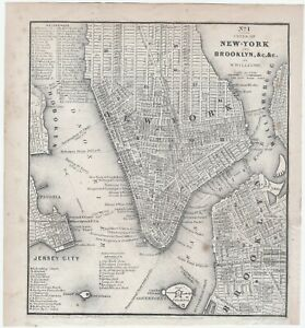 RARE Orig Detailed Engraved Map - New York City Brooklyn etc- 1847 by W Williams