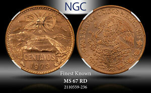 1973-Mo MEXICO 20 CENTAVOS NGC MS67 RD FINEST KNOWN!