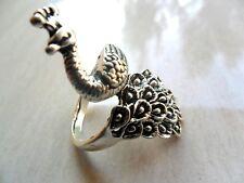 antique Elegant Tibet silver Carved  peacock  Gemstone  ring