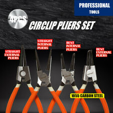 "4Pc 7"" Circlip Pliers Set Internal External Bent Straight Snap Ring Remove Tool"