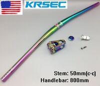 Aluminum Handlebar 800 Riser bar Stems 50mm MTB Bike short Stem Top cap Expander