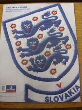 28/03/2009 England v Slovakia [At Wembley] . Item appears to be in good conditio