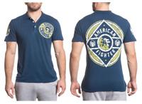 AMERICAN FIGHTER Mens POLO T-Shirt BENJAMIN Biker NAVY BLUE Gym MMA $45