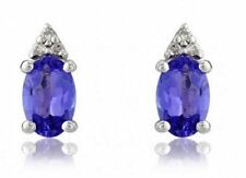 Tanzanite 9 Carat White Gold Fine Earrings