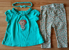 Girl's Size 0-3 M Months Pc Carter's Green Monkey Top, Animal Print Pants & HB
