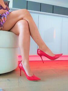 Sexy Jimmy Choo High Heel Stiletto Lack Leder Pumps 38 Mega Spitz Luxus