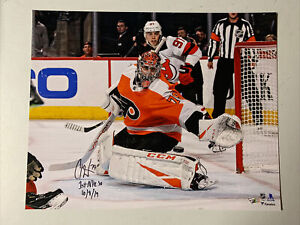 Carter Hart Autograph Signed Flyers Inscribed 1st NHL SO 16x20 Photo Fanatics