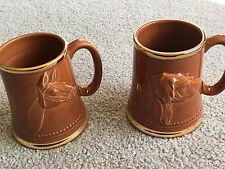 2 Steins Mug Beer Coffee Mugs Enesco VTG DOG HORSE brown gold rim Ceramic CUP