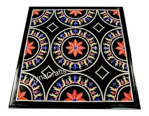 Square Black Marble Coffee Table Top Red Stone Inlaid Work Patio Table 24 Inches