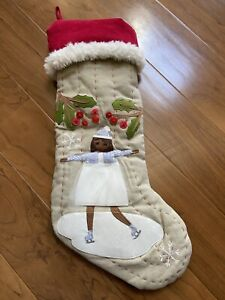 Pottery Barn Kids Holiday Collection Ice Skater Woodland Stocking NWOT