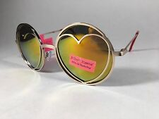 b0504b199df26 New Betsey Johnson Round Heart Sunglasses Yellow Green Coral Flash Gold Red  55