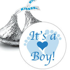 108 It's a Boy Blue Baby Footprints Baby Shower Favors Hershey Kiss Stickers