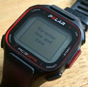 Polar RC3 Mens Black Digital GPS Fitness Tracker Quartz Smart Watch Hours