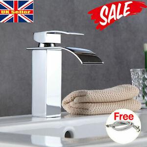 Modern Basin Mixer Tap Chrome Small Square Sink Mono Luxury Waterfall Bathroom