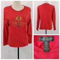 Lauren Ralph Lauren Signature Womens Red Crew Neck Blouse Top - Size Large