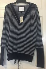 American Eagle Outfitters Gray & Blue stripes Hooded Sweater XL