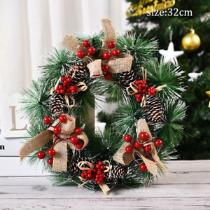 Christmas Artificial Wreath Front Door Hanging Garland Home Holiday Decoration