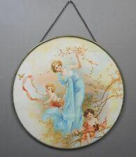 Antique Victorian Chimney Flue Cover Lithograph Print Woman Cherubs Children