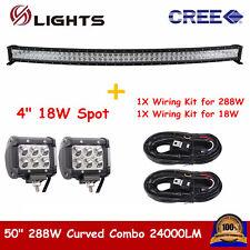 """Curved 50"""" 288W LED Light Bar Fog Truck+2X 4"""" 18W Spot Pod Lights+2x Wiring Kit"""
