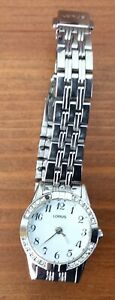 Ladies Lorus Silver-tone Watch With Decorative Deco Style Bracelet Strap.
