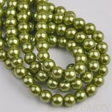 200pcs 4mm Pearl Round Glass Loose Spacer Beads Jewelry Making Olive Green