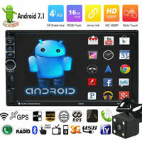 "7"" 2DIN Quad Core Android 7.1 3G WIFI de Car Radio estéreo MP5 GPS Player+Cámara"