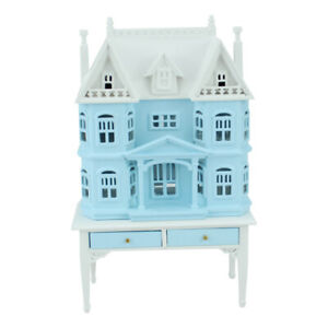 blue 1/144 scale Miniature DollHouse House shape on 1/12 scale table