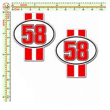 Adesivi marco simoncelli strisce rosse 58 sticker auto moto casco corse 2 pz.