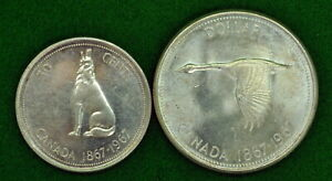 1967 Canada Silver UNC Dollar Canadian Flying Goose & 50 Cents both MINT