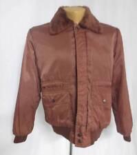 Vtg Giovanni Bomber Coat Jacket Retro Old School Filled Nylon Plush Collar Large