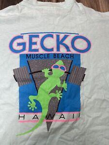 Vintage 90s Gecko Hawaii T-Shirt Graphic Single Stitch USA Muscle Beach Medium