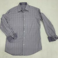 Bugatchi Plaid Striped Flip Cuff Shaped Fit Long Sleeve Purple Shirt Mens Size S