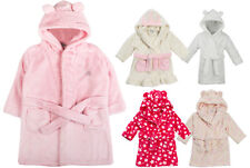 Baby Girls Hooded Fleece Dressing Gown Supersoft Bath Robe Towel Toddler Months