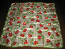 """ECHO Scarf Fruit Pattern Cherries Red Green 21"""" Square"""
