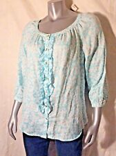 Charter Club Linen Blouse Beautiful Blue&White Ruffle Large Excellent New W/Tags