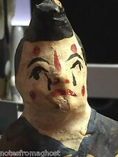 19th C. HAND PAINTED PAPER MACHE CLOWN ~ ORIGINAL STAND