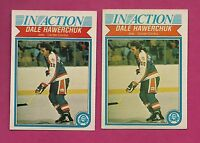 2 X 1982-83 OPC # 381 JETS DALE HAWERCHUK IN ACTION ROOKIE CARD (INV# A4149)
