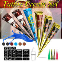 6Colors Henna Cones Herbal Paste Temporary Tattoo Ink Kit Body Art Painting