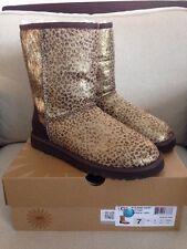 New UGG Australia Women's Classic Short Calf Hair Boot Metallic Leopard Brown 7